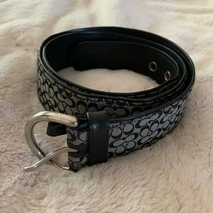 Black and grey authentic Coach belt